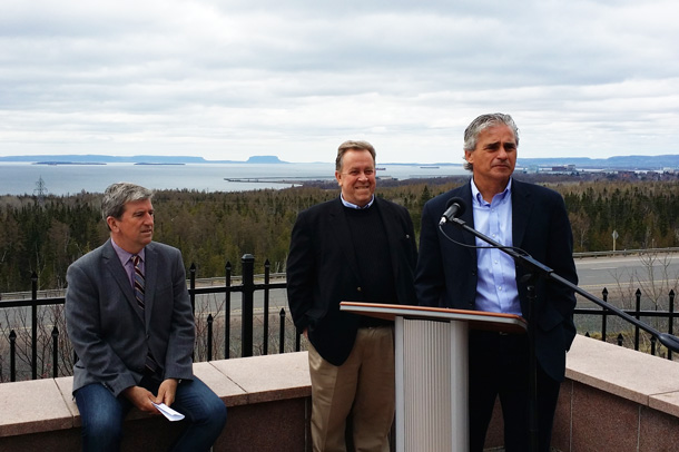 L-R - Transportation Minister Murray, Minister of Northern Development and Mines Michael Gravelle, and Housing Minister Bill Mauro at Highway Announcement.