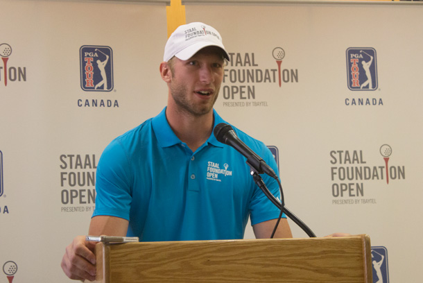 Jordan Staal at the media announcement at Thunder Bay City Hall
