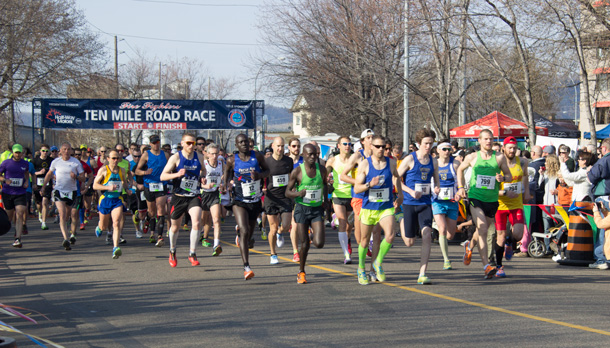 The lead group at the start of the 2014 Annual Fire Fighters Ten Mile Road Race.