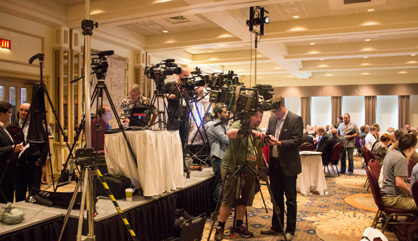 The Queens Park Press Gallery and media from across Ontario were out in force.