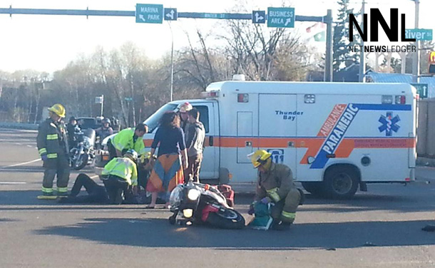 The accident at River and Cumberland on Monday night sent the motorcyclist to hospital.