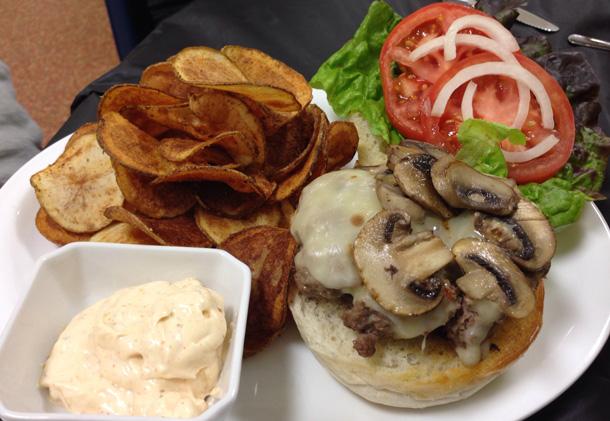 Mushroom and Swiss Burger with home-made potatoes