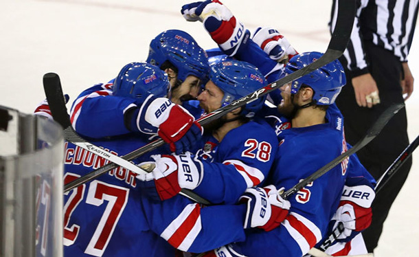 New York Rangers celebrate after topping Montreal 1-0. NHL Photo