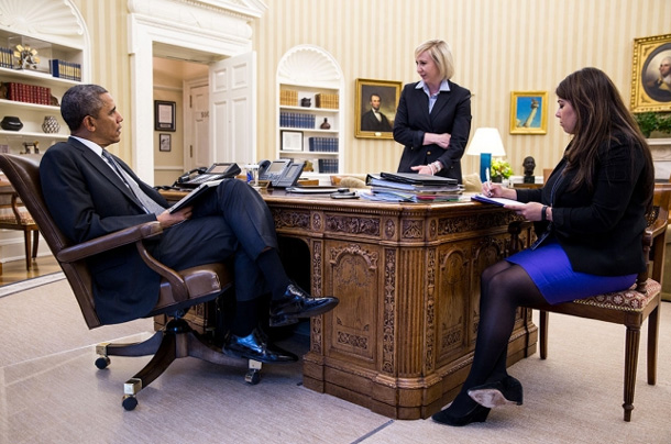 President Barack Obama meets with Anita Decker, Deputy Chief of Staff for Operations, and Personal Secretary Ferial Govashiri in the Oval Office, May 5, 2014. (Official White House Photo by Pete Souza)