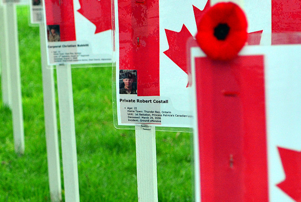 Marker honouring Private Robert Costall