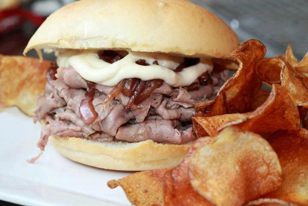 Roast Beef Sandwich with home-made chips.