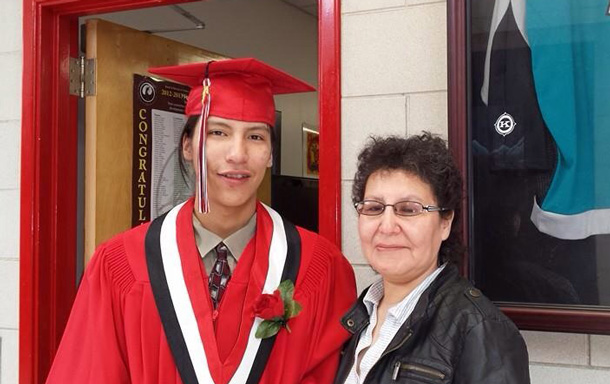 "Scott Meekis and his mother Nora Meekis. The Grade Twelve Dennis Franklin Cromarty Student is set to ""Enter the Den"""