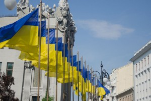 Ukrainian flags in front of the House with Chimaeras, Kyiv. Photo: UNDP Kyiv