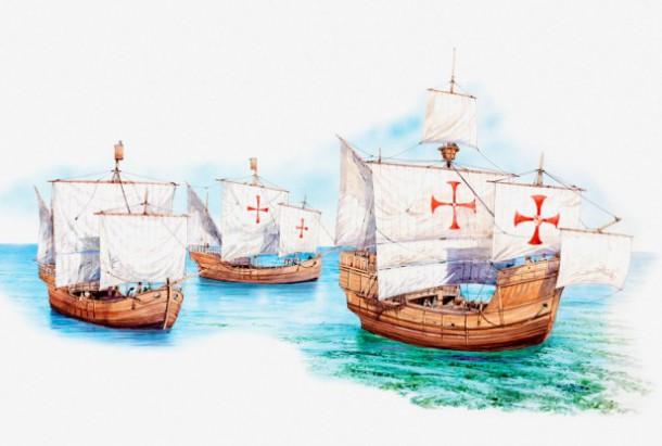 Illustration of the three ships, the Nina, the Pina, and the Santa Maria