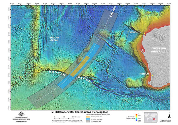 The ATSB has released the latest search area map as the efforts to find Malaysia Airlines MH370 continues.