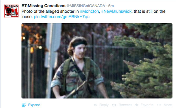 Images from Social Media of alleged gunman in Moncton New Brunswick