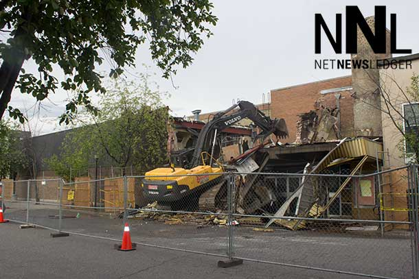 Demolition continues at 08:45AM of the Capital Theatre on Brodie Street