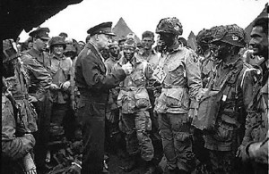 General Eisenhower speaks with US Rangers before they embark on the D-Day Invasion. - US Military