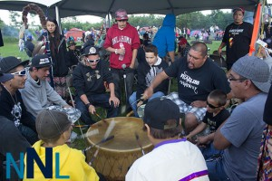 Drum group Fearless Ojibway at Fort William First Nation