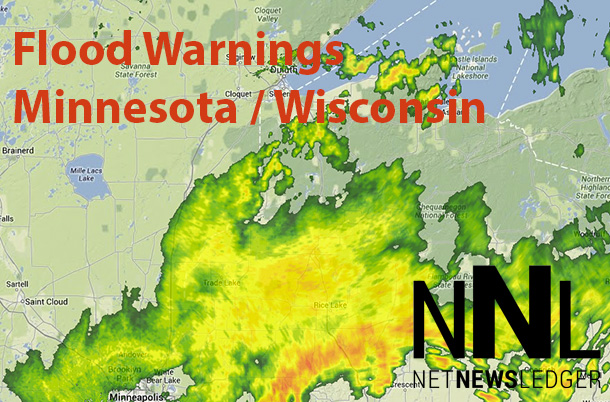 Flood warnings are in effect for parts of Minnesota and Wisconsin