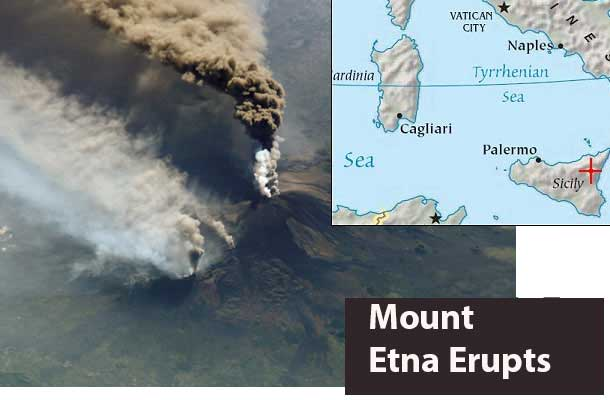NASA image of Mount Etna in Sicily