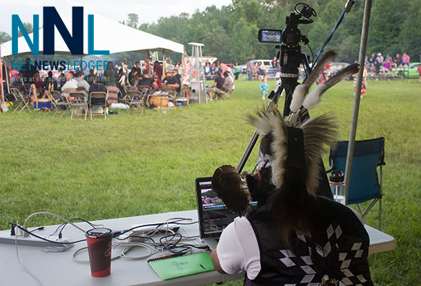 Munzeroy spent sometime away from Grass Dancing to learn more about how the Livestream works at the Fort William First Nation Pow Wow