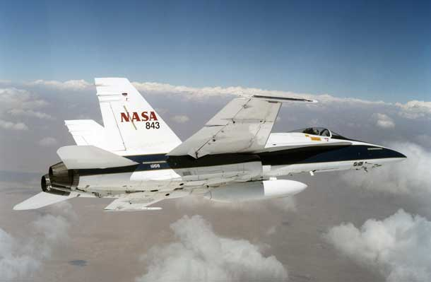 ASA F/A-18 mission support aircraft were used to create low-intensity sonic booms during a resaerch project at the agency's Armstrong Flight Research Center in Edwards, California. The Waveforms and Sonic boom Perception and Response, or WSPR, project gathered data from a select group of more than 100 volunteer Edwards Air Force Base residents on their individual attitudes toward sonic booms produced by aircraft in supersonic flight over Edwards. Image Credit: NASA/Jim Ross