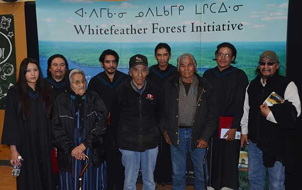 Pikangikum Graduates with Elders Lucy Strang, Gideon Peters and Tom Quill Sr. and Chief Paddy Peters