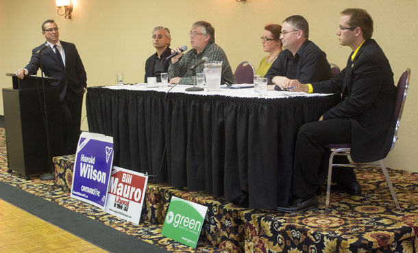 Candidates' Forum for Thunder Bay Atikokan - r-l Joe Talarico, Libertarian, John Northey, Green Party, Mary Kozorys, New Democrat, Harold Wilson Progressive Conservative, Bill Mauro Liberal.