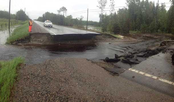 Road washout near Emo Ontario