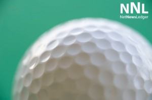 A golf ball's dimpled surfaces have less wind resistance.