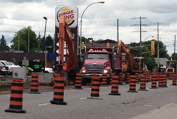 Construction along Arthur Street eastbound is ongoing this summer in Thunder Bay.