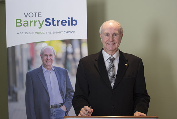 Barry Streib has declared his candidacy running for a seat on Thunder Bay City Council