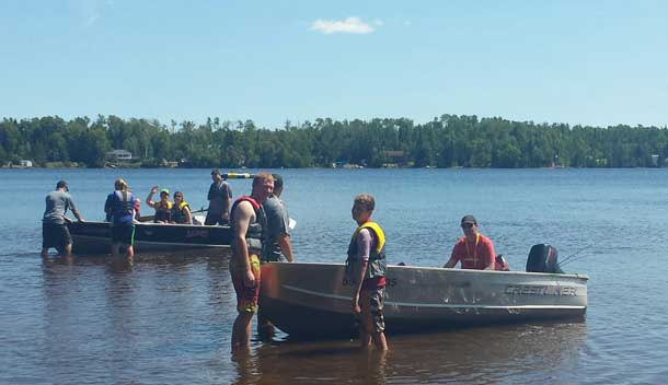Camp Quality - The Police enjoyed time boating with the campers