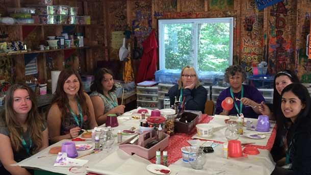 Gathered at the table at Camp Quality