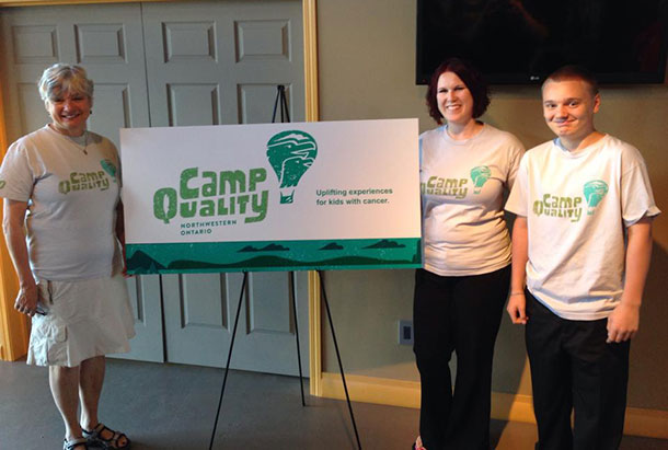Clara Butikofer, President of the Camp Quality Canada Board of Directors; Ashleigh Quarrell, Director of Camp Quality Northwestern Ontario and Braeden Fediuk, cancer survivor and Camp Quality camper, celebrate 13 years of uplifting experiences for kids with cancer and the launch of the new Camp Quality brand.