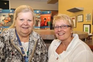 """""""What's good for the heart is good for the brain,"""" says Sarah Pudney-Gillin (right), Public Education Coordinator at the Alzheimer Society of Thunder Bay, seen here with Pauline Bodnar (left), Community and Long-Term Care Specialist, Northwestern Ontario Regional Stroke Network."""