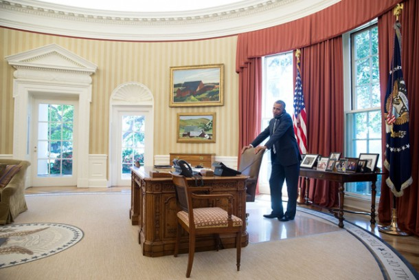 President Obama on the telephone in the Oval Office - White House Image
