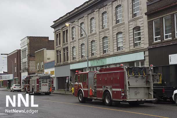 Thunder Bay Fire Rescue is on scene for a call at the Roy Building on Victoria Avenue East