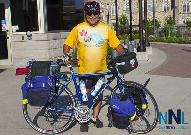 Martin Spriggs stopped at Thunder Bay City Hall this morning on his journey for Canadian Veterans and Mental Health issues.