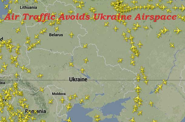 Commercial Airlines are Avoiding Airspace over the Ukraine