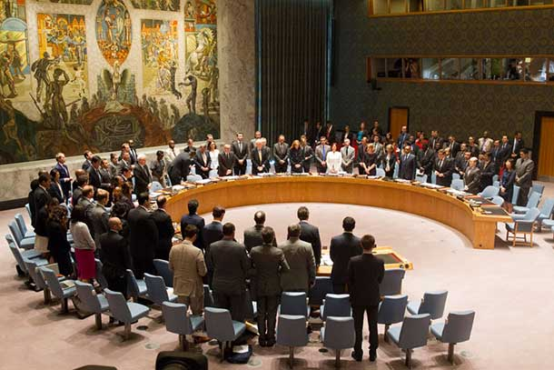 The UN Security Council holds a moment of silence in honour of the victims of crashed flight MH17. UN Photo/Loey Felipe