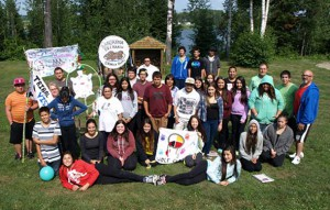 SUICIDE PREVENTION was one of the major themes covered in workshops during the eighth annual Wabun Youth Gathering held from July 14 to 25 at the Eco Lodge in Elk Lake Ontario. Pictured are the Wabun Youth Senior participants who took part in the event.