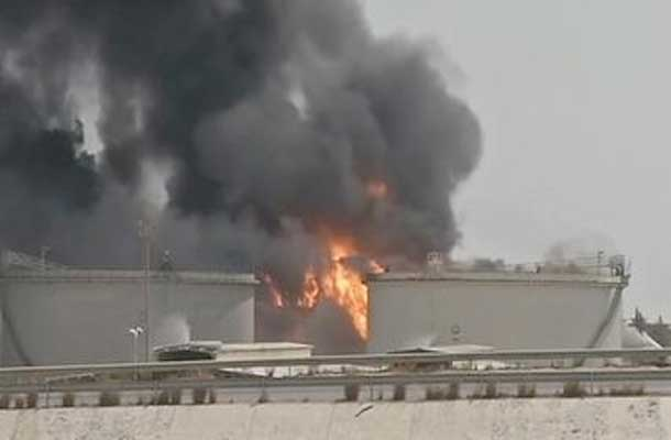 Millions of litres of fuel burning in Tripoli as Libya continues to decend into fighting