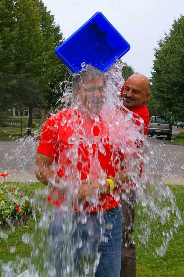 Thunder Bay Atikokan MPP and Minister of Natural Resources and Forestry Bill Mauro gets the Ice Bucket Challenge treatment from his brother.