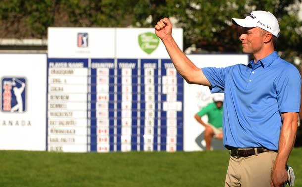 David Bradshaw two-putted for birdie on 18 to win The Great Waterway Classic by a single shot (Michael Burns/PGA TOUR)