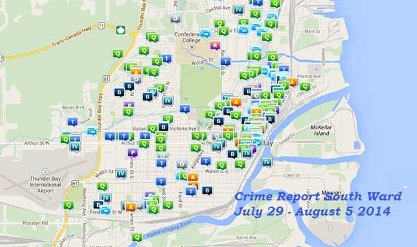 One week's worth of the crime reports in the South side of Thunder Bay