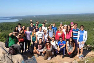 English Language Students from Confederation College and Senior Volunteers from the Thunder Bay 55 Plus Centre Pose During a Trip to Sleeping Giant Provincial Park