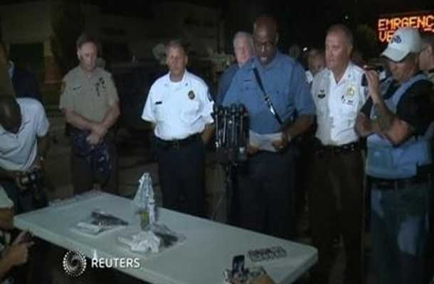 Captain Ron Johnson speaks to media after violent night in Ferguson