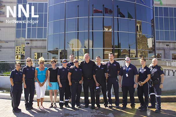 Thunder Bay Paramedics and EMS Managers supporting Ice Bucket Challenge