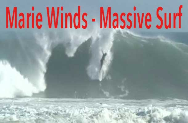 Hurricane Marie is not a huge storm but the surf is massive.
