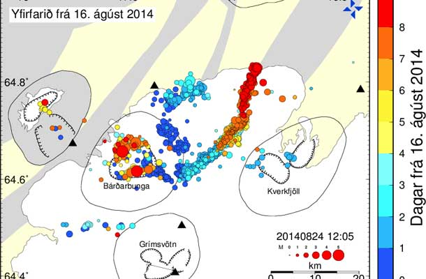 Map of recent Earthquakes in Iceland