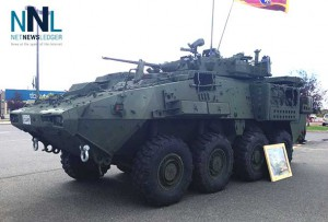 Military vehicles on display at Canadian Tire at Intercity