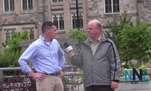 Robin Rickards speaking with James Murray outside Thunder Bay City Hall
