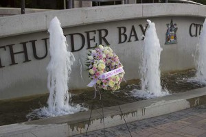 In silence we hope... wreath at Thunder Bay City Hall Plaza